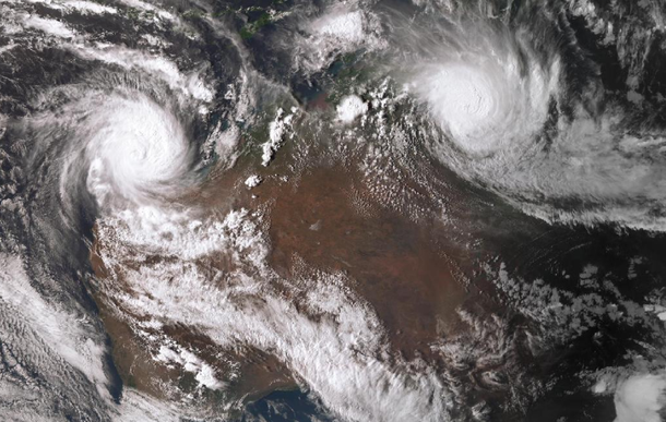 Satellite image of Tropical Trevor over the Gulf of Carpentaria 22 March 2019. From www.bom.gov.au.