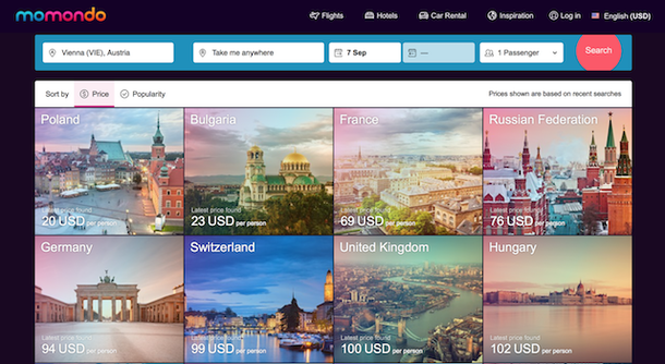book flights with momondo