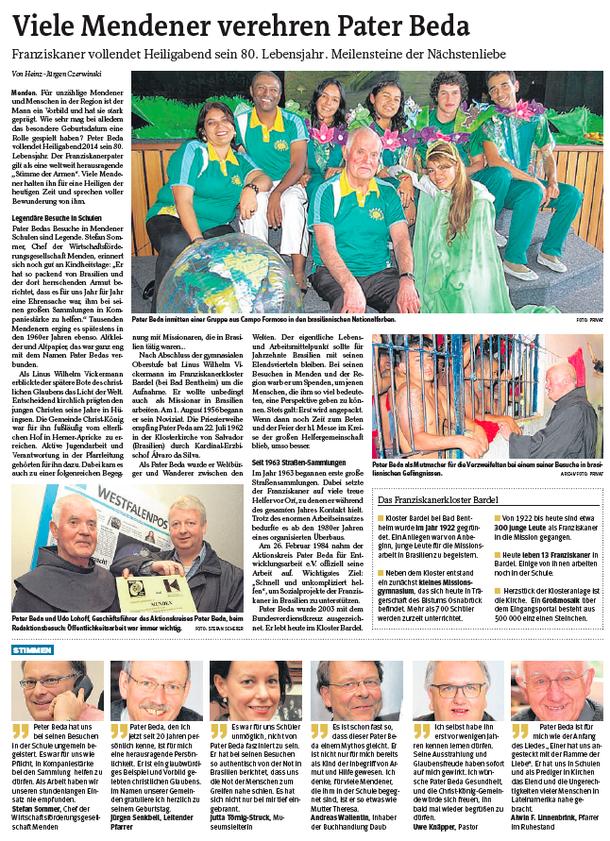 Westfalenpost Menden, 24.12.2014
