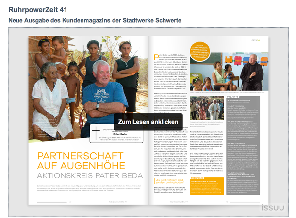 """Artikel über Pater Beda und seinem Aktionskreis in der Septemberausgabe des Stadtwerke-Magazins der Stadt Schwerte """"Ruhrpower"""""""