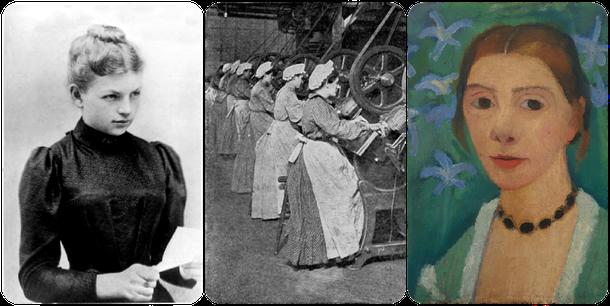 Collage. Links und Mitte lizensiert unter Gemeinfrei, rechts Selb stbildnis Paula Modersohn-Becker, lizenziert unter Bild-PD-alt