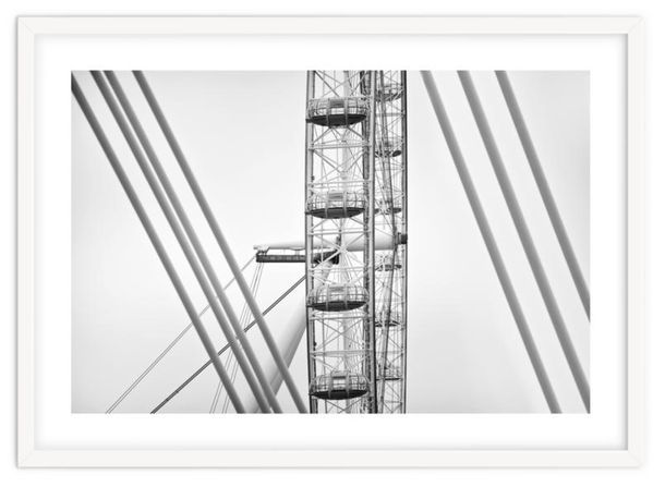 Monochrome art print' London Eye City Structures' By PASiNGA exclusive ArtHaus collection