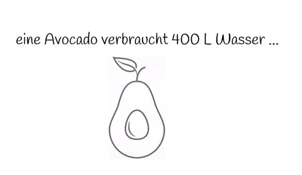 My GREEN Home eine Avocado verbraucht 400l Wasser - klicke hier und du kann dir bei YouTube-My Green Home anschauen wie viel Liter Wasser eine Avocado verbraucht. Wasserverbrauch. Wasser sparen. Nachhaltig. Regenwald schützen. Avocado Anbau. Deutschland.