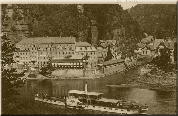 Und so sah es etwa um 1890 in Herrnskretschen an der Mündung der Kamnitz in die Elbe aus.