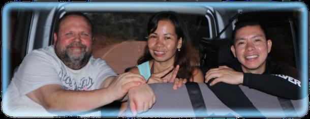 Mein Freund Udo mit seiner Jessiebeth und ihrem Bruder Junmar auf der Fahrt nach El Nido/Palawan