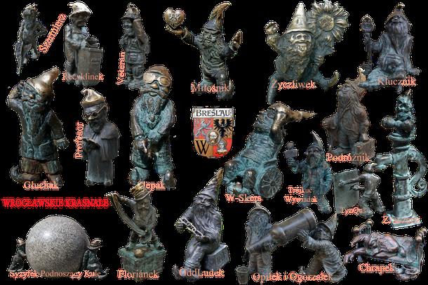 Eine kleine Sammlung von Wroclaw Zwergen, die wir aufgestöbert haben. Wir entdeckten 31 Exemplare