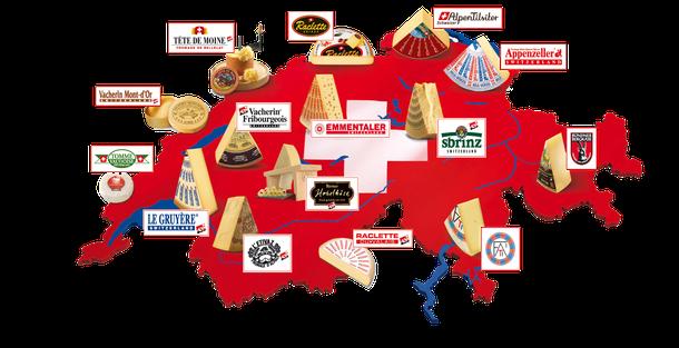Quelle:lebensmittelpraxis.de/warenkunden/kaese-aus-der-schweiz - Karte ist mit der Website verlinkt, ein Klick und los gehts! In der Weltproduktion von Käse liegt die Schweiz nur auf Rang 20, in der Qualität rangiert sie ganz weit vorn!