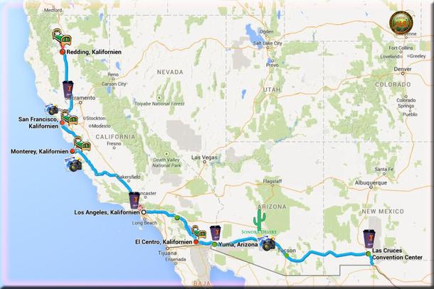 Von New Mexico, südliches Arizona, Sonoran Desert, Monterey nach San ...