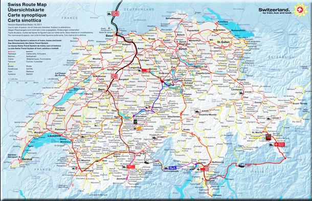 Auf dieser Schweizkarte ist unsere komplette Reiseroute eingetragen. Sie beinhaltet den Bahn- Bus und Schiffsverkehr! Durch zweimaliges Anklicken sind gewisse Details unserer Tour erkennbar!