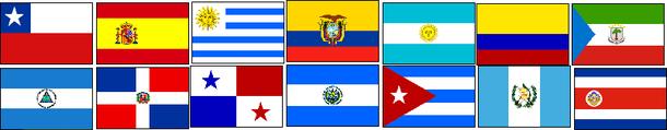 Argentine,Uruguay,Ecuador,El Salvador,Cuba,Guatemala, Costa Rica,Colombia,Spain,Equatorial Guinea,Chile,Dominican,Nicaragua,Panama