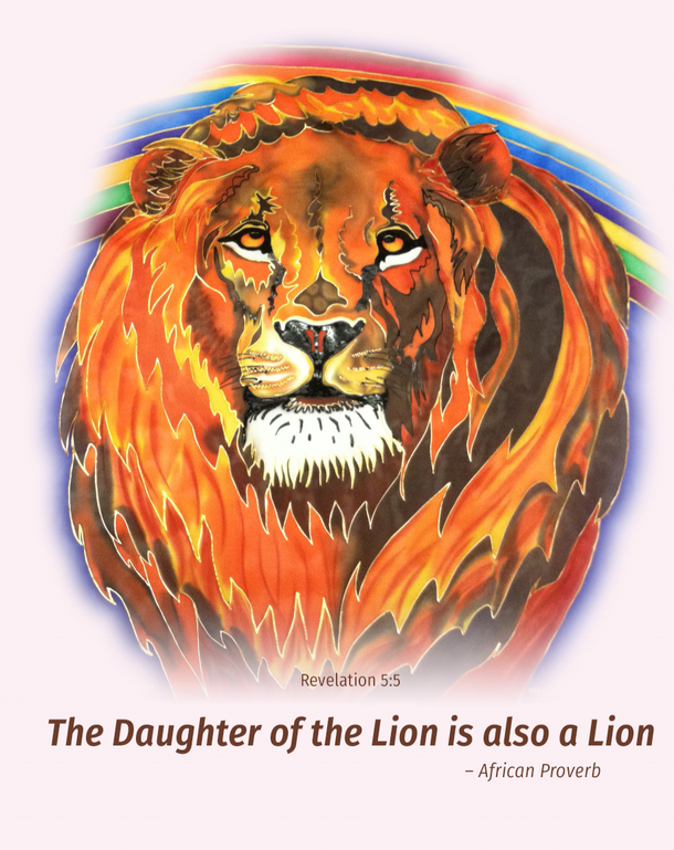 Gorgeous orange and yellow LION of Judah looks right at you - with a hint of His rainbow