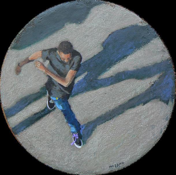 """Peinture de Mehrzad Najand - diametre 15 cm - acrylique sur toile -  Danse avec les ombres """" - 2015"""