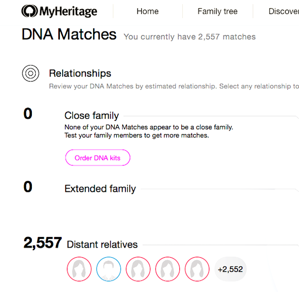 My DNA matches - MyHeritage DNA test