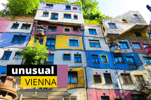 unusual and colorful Hundertwasser house in Vienna