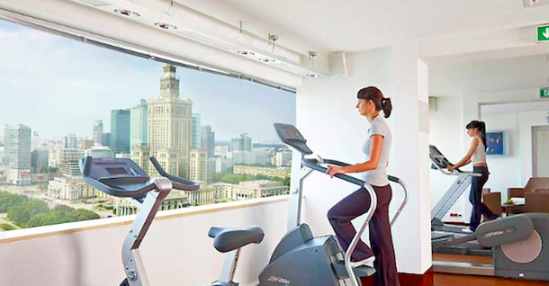 gym with panorama in Novotel Hotel Warsaw