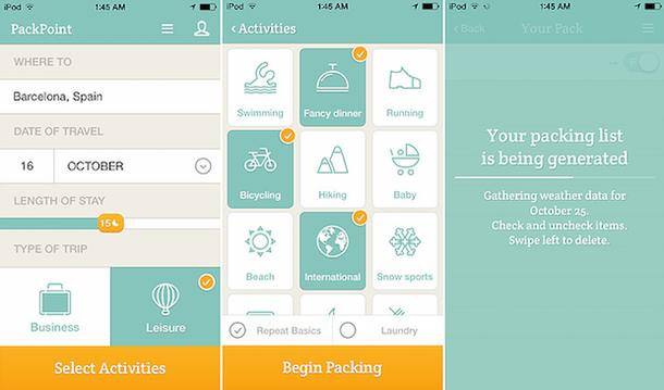 Packpoint - мобильное приложение, которое может собрать багаж вместо ваc