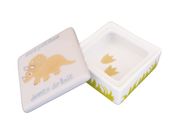 Boîte à dent enfant dinosaure en porcelaine personnalisable