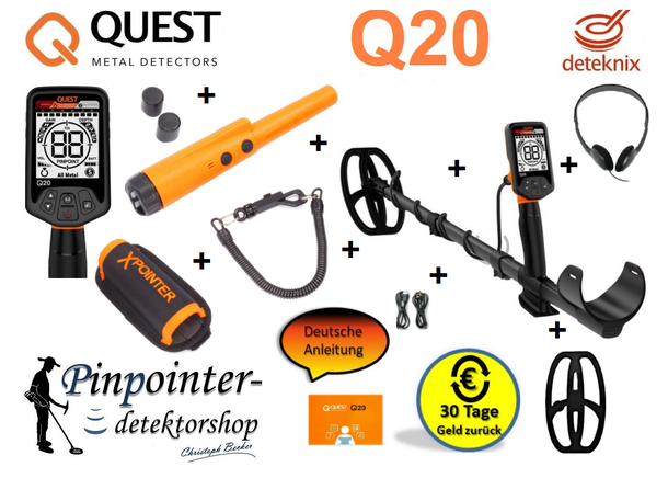 Quest Q20 Metalldetektor inkl. Xpointer Pinpointer