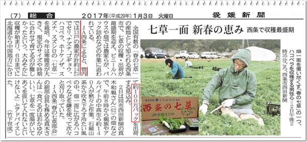 ◆ 愛媛新聞 掲載記事より抜粋 (2017.1.3)