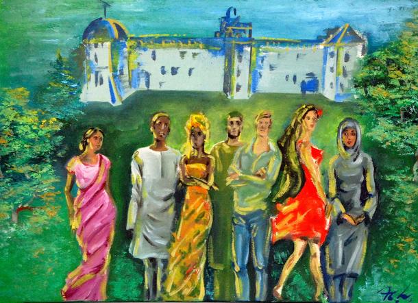 """""""Vielfalt in Celle"""": Gemälde von Natalie Löwenstein († 2009), im Besitz der Stadt Celle"""