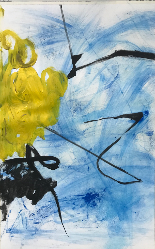The yellow elephant, Mixed media on paper / 100 x 65 cm / 2019 / 130