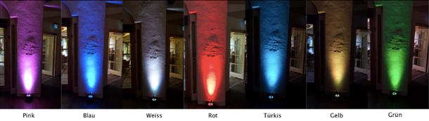 Ambiente Paket mit Floorspots in verschiedenen Farben, abgestimmt auf Deine Dekoration und Feier!