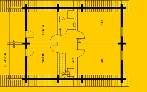 Blockhaus Leipzig: Wohnfläche OG 75 m² - © Blockhaus-Profi