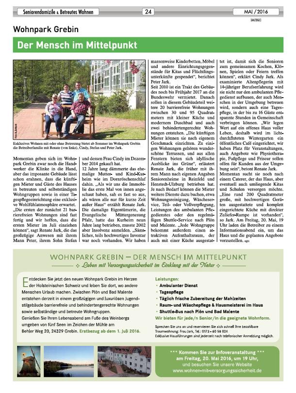 Sonderveröffentlichung der Kieler Nachrichten über Seniorendomizile & Betreutes Wohnen in Schleswig-Holstein vom 13. Mai 2016.