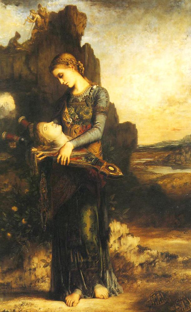 """""""Jeune fille thrace portant la tête d'Orphée"""", Gustave MOREAU (1865)"""