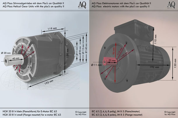 Getriebe » Stirnradgetriebe » Stirnradgetriebe mit Motor Drehstrom » B14 klein Flanschform