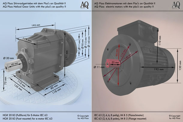 Getriebe » Stirnradgetriebe » Stirnradgetriebe mit Motor Drehstrom » B3 Fußform
