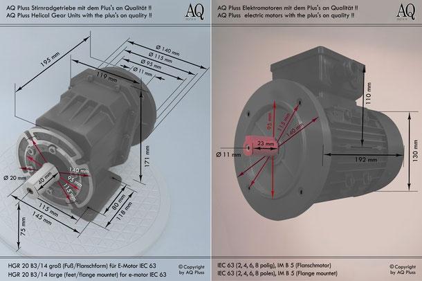 Getriebe » Stirnradgetriebe » Stirnradgetriebe mit Motor Einphasen 230V » B3/14 g Fuß/Flanschform