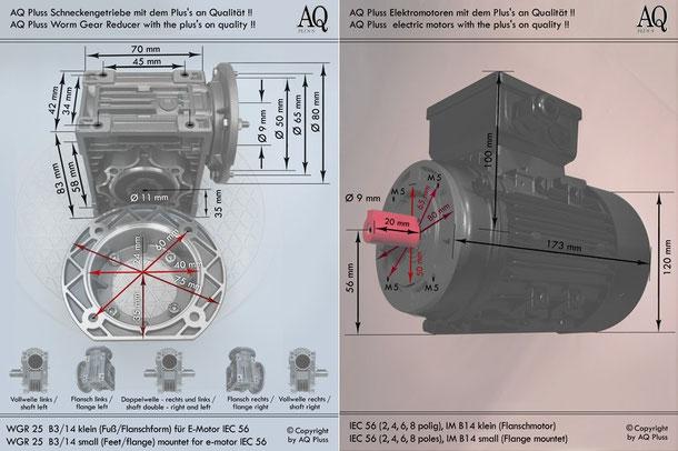 Getriebe » Schneckengetriebe » Einphasen Schneckengetriebe » B3/14 klein Fuß/Flanschform