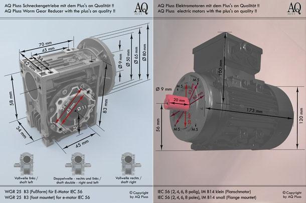 Getriebe » Schneckengetriebe » Drehstrom-Schneckengetriebe » B3 Fußform