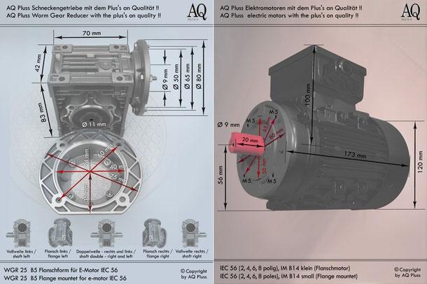 Getriebe » Schneckengetriebe » Einphasen Schneckengetriebe » B5 Flanschform