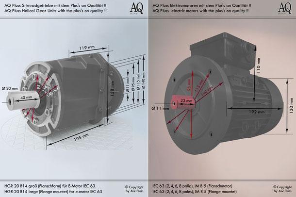 Getriebe » Stirnradgetriebe » Stirnradgetriebe mit Motor Einphasen 230V » B14 g Flanschform