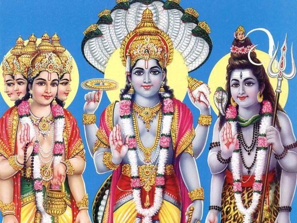 Die hinduistische Triade - Dreieinigkeit: Brahma, Schöpfer des Universums; Vishnu, der Bewahrer und kosmische Energie; Shiva, der Zerstörer und reproduktive Kraft.