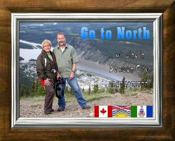 Wir beide auf dem 887 m hohen Midnight Dome über Dawson City, ein fantastischer Viewpoint  mit gigantischem Panorama