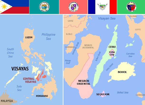 Über der Grafik sind die Flaggen der Philippinen und die vier Provinzen der CV angeordnet.