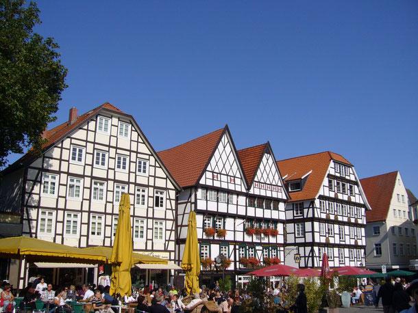 Der Marktplatz von Soest mit seinen gut erhaltenen Fachwerkhäusern