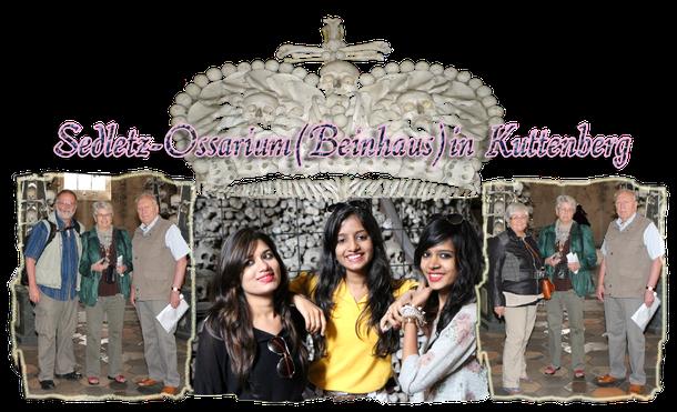 Im Sedletz-Ossarium, Kuttenberg trafen wir die hübche Jainistin Sanjana+girlfriends aus Indien. Das Bild ist mit dem Blog über die Historie des Beinhauses verlinkt! Also einfach anklicken!