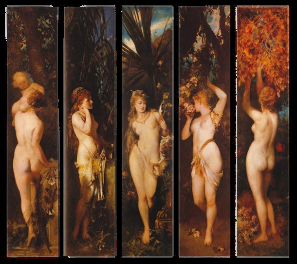 Gemälde von Hans Makart um 1879-Die fünf Sinne-tasten, hören, sehen, riechen u. schmecken