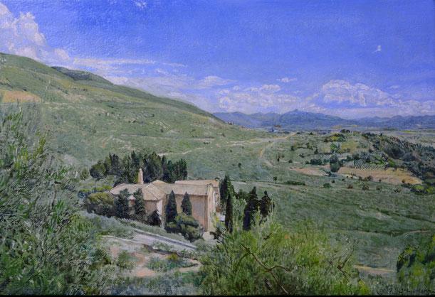PANORAMA DA CITTA'DI TREVI チッタ・ディ・トレビからの眺め 17x25cm 油彩・板