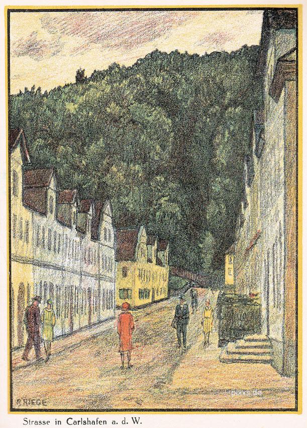 AK nach einer Lithographie des Hamelner Künstlers Rudolf Riege (1892-1959) um 1920/25