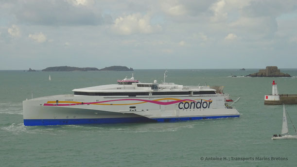 Condor Liberation, seen entering Saint-Malo harbour, is to remain out of service until December following the discovery of damages on her waterjets buckets.