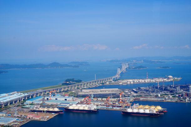 瀬戸大橋と児島が見えました!