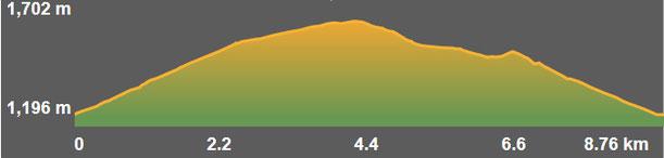 Perfil ruta senderisme TC222 - Ruta de la Muntanya