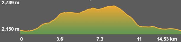 Perfil ruta senderisme TC230 - Refugi de la Feixa - Estany de Malniu
