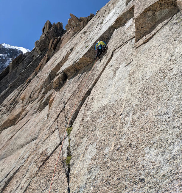 klettern, Mehrseillängen, Chamonix, Mont Blanc, Trad, Granit, Pointe Lachenal, Harold and Maud, Harold et Maud