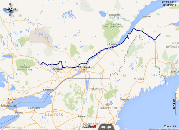 Unsere gefahrene Route durch Québec